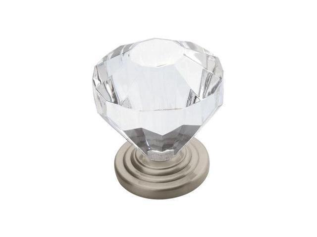 Amerock 14303-CSG 1.25 in. Knob - Crystal-Satin Nickel