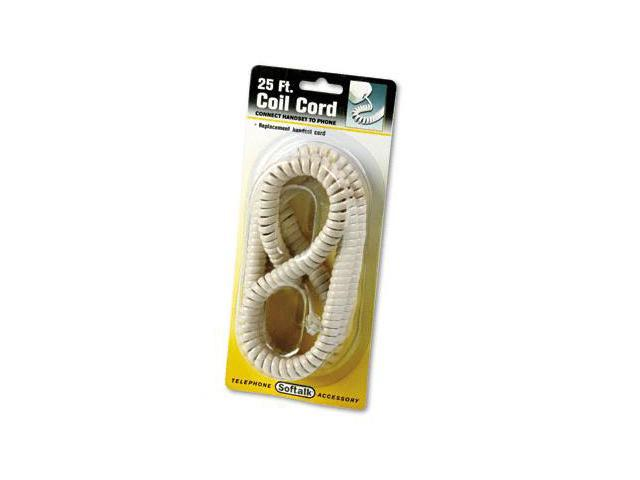 Softalk 42265 Coiled Phone Cord  25ft  Ivory