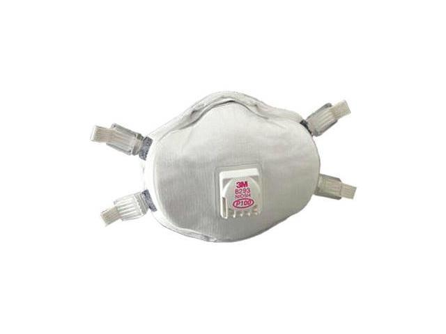 3M 8293 P100 Disposable Particulate Cup Respirator with Cool Flow Exhalation Valve, Standard, 1 Each