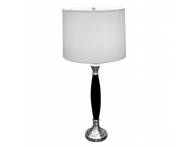 Ore International 31117 Wooden Table Lamp - Chrome