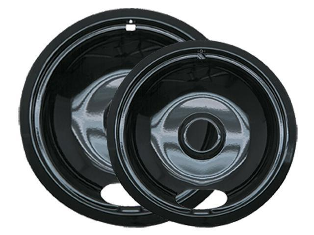 Range Kleen P12782XCD5 Style A - 2 pk 6 and 8 in Black Porcelain Drip Pans