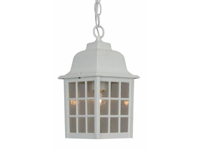 Craftmade Z271-04 Cast Aluminum Outdoor Grid Cage Pendant with Seeded Water Glass - White