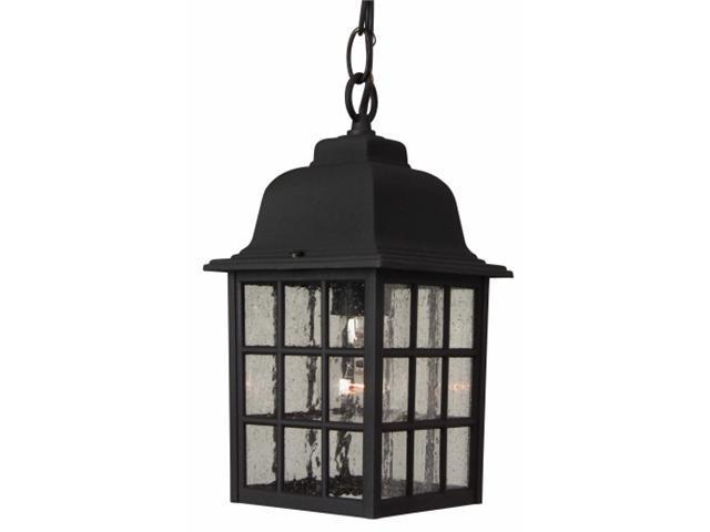 Craftmade Z271-05 Cast Aluminum Outdoor Grid Cage Pendant with Seeded Water Glass - Black
