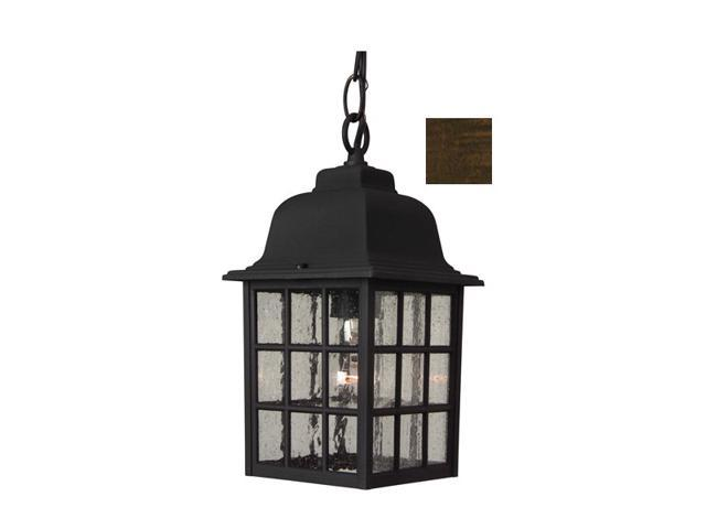 Craftmade Z271-07 Cast Aluminum Outdoor Grid Cage Pendant with Seeded Water Glass - Rust