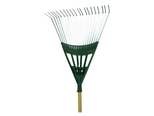 Seymour 22in. 20 Tine Poly Steel Leaf Rake With Wood Handle  LF-22PS
