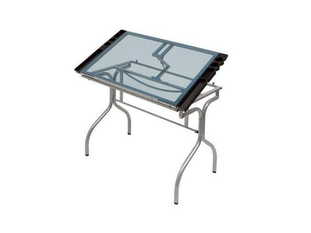 Folding Craft Station in Silver with Blue Glass by Studio Designs
