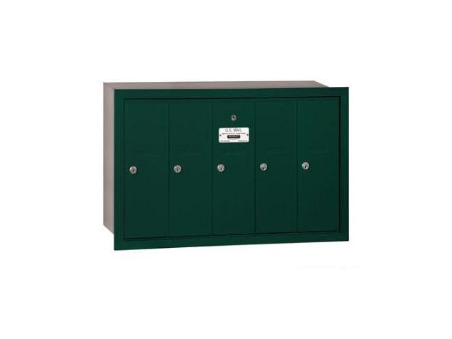 Salsbury 3505GRP Vertical Mailbox (Includes Master Commercial Lock) - 5 Doors - Green - Recessed Mounted - Private Access