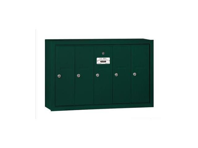 Salsbury 3505GSP Vertical Mailbox (Includes Master Commercial Lock) - 5 Doors - Green - Surface Mounted - Private Access