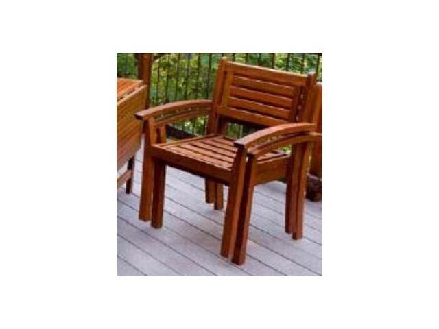 Merry Products MPG-STK-CH01 Eucalyptus Stacking Arm Chair