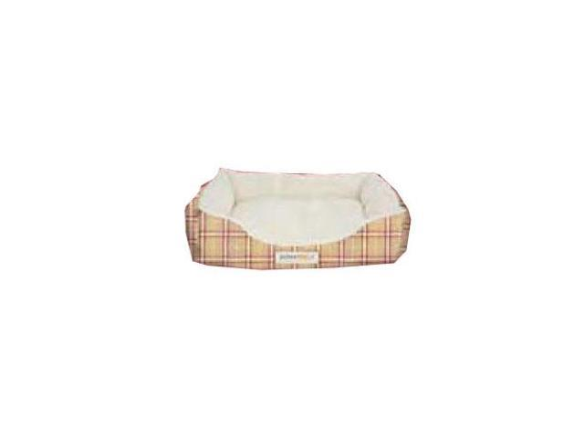 Alpha Pooch Cuddler Rectangular Bolster Tan and Red Plaid-Natural Fleece- CUD-2026-S-8AX6