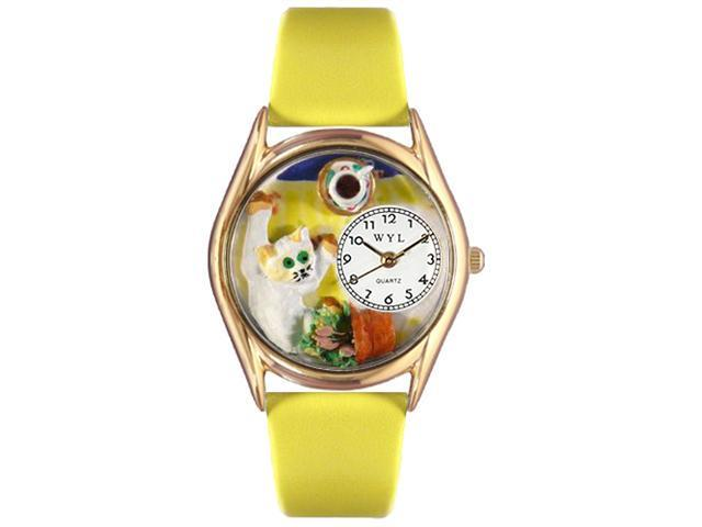 Bad Cat Yellow Leather And Goldtone Watch #C0120008