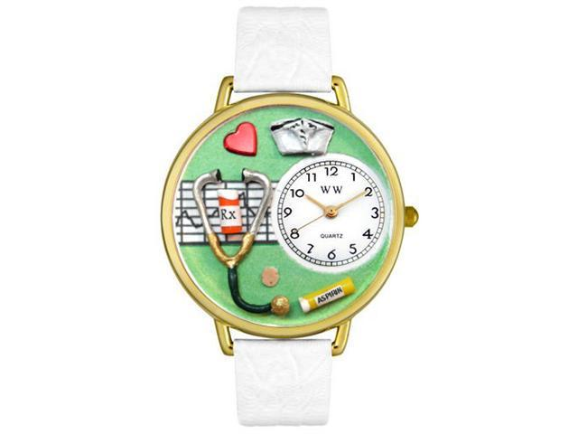Nurse Green White Skin Leather And Goldtone Watch #G0620041