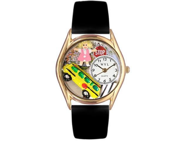 School Bus Driver Black Leather And Goldtone Watch #C0640012