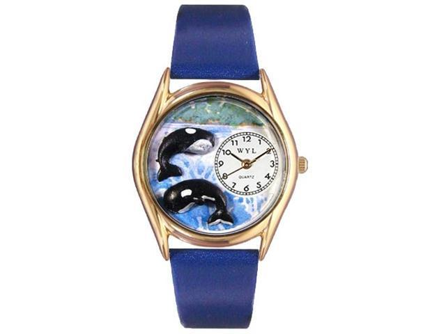 Whales Royal Blue Leather And Goldtone Watch #C0140001