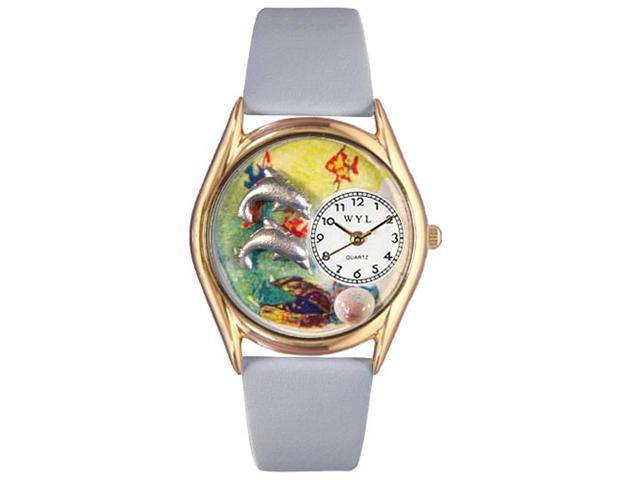 Dolphin Navy Blue Leather And Goldtone Watch #C0140007