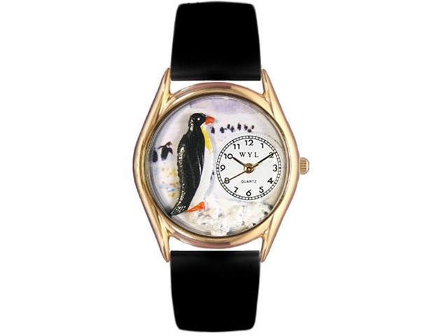 Penguin Black Leather And Goldtone Watch #C0140010