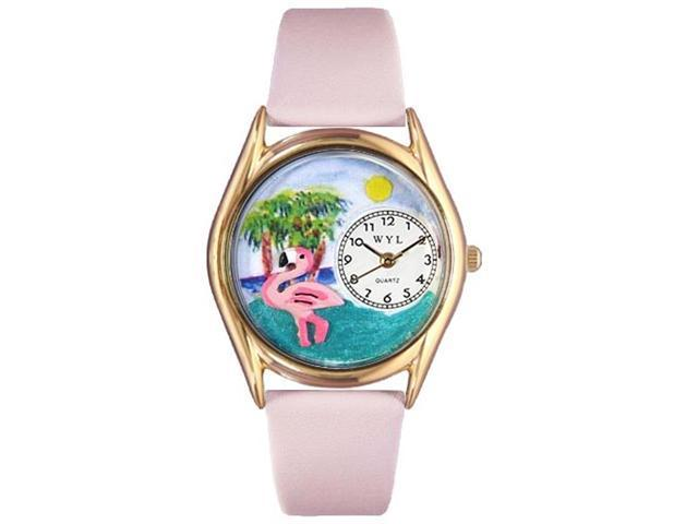 Flamingo Pink Leather And Goldtone Watch #C0150010
