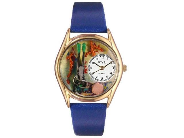Scuba Diving Black Skin Leather And Goldtone Watch #C0810014