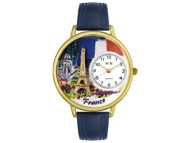 France Navy Blue Leather And Goldtone Watch #G1420006