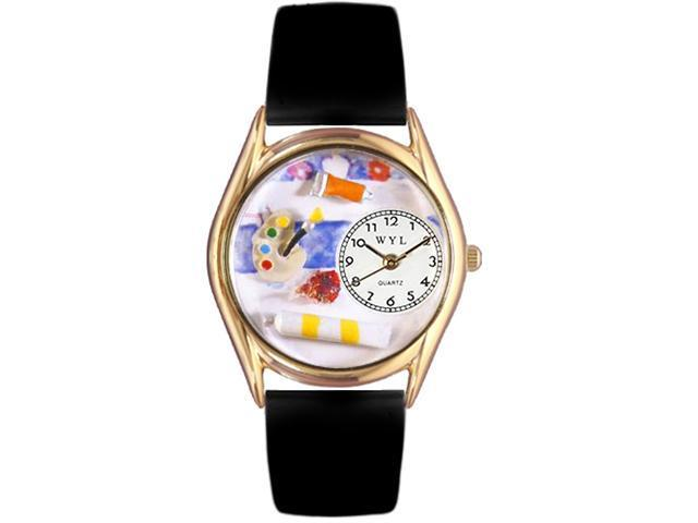 Artist Black Leather And Goldtone Watch #C0410001