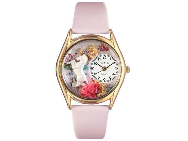 Unicorn Pink Leather And Goldtone Watch #C0420001