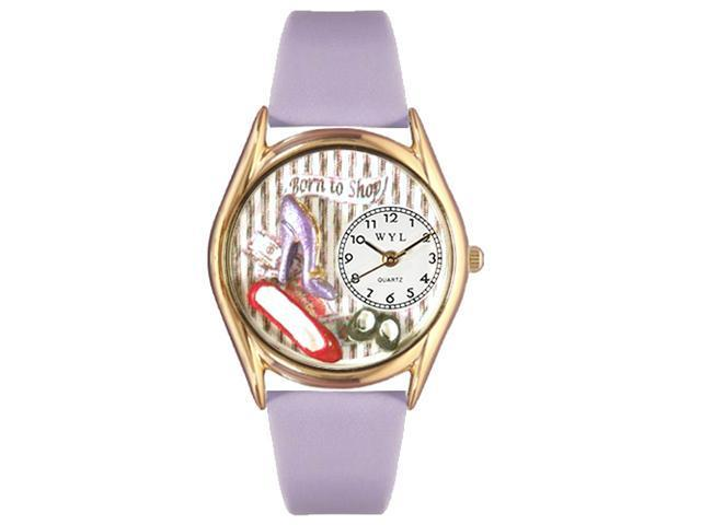 Shoe Shopper Lavender Leather And Goldtone Watch #C1010006