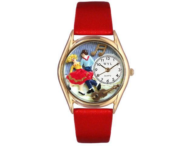 Square Dancing Red Leather And Goldtone Watch #C0510007