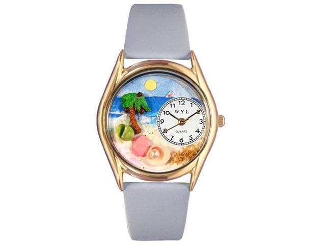 Palm Tree Baby Blue Leather And Goldtone Watch #C1210010