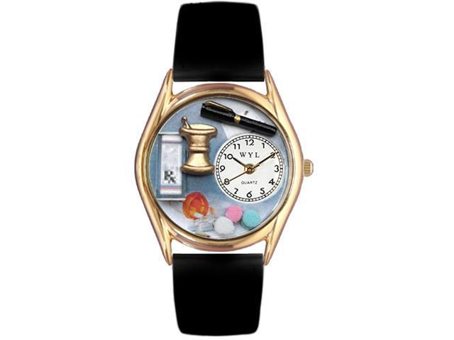 Pharmacist Black Leather And Goldtone Watch #C0610005