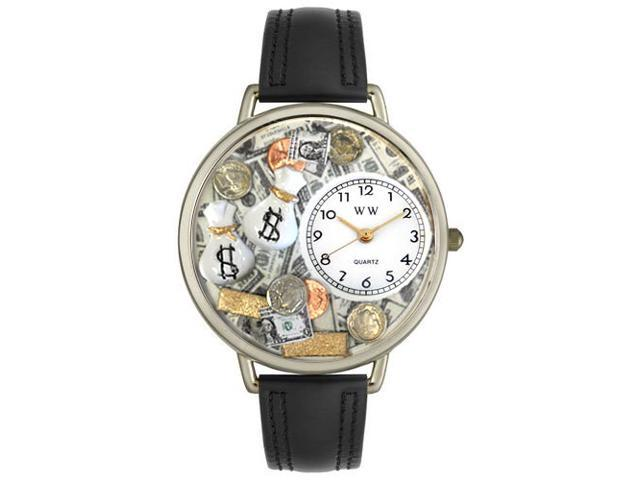 Banker Black Leather And Silvertone Watch #U0610031