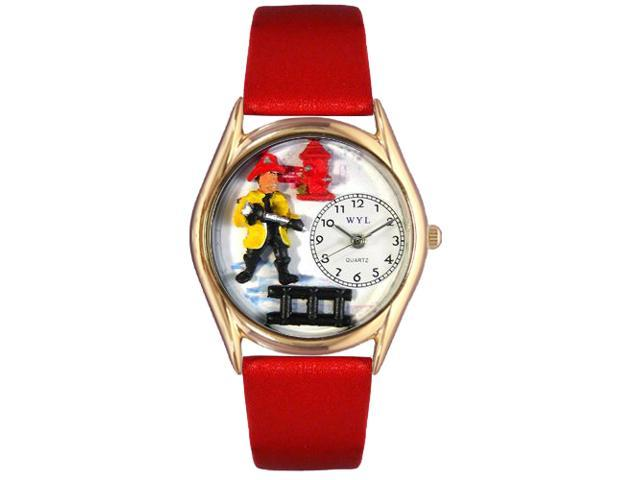Firefighter Black Leather And Goldtone Watch #C0620011
