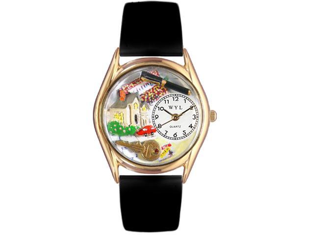 Realtor Black Leather And Goldtone Watch #C0630002