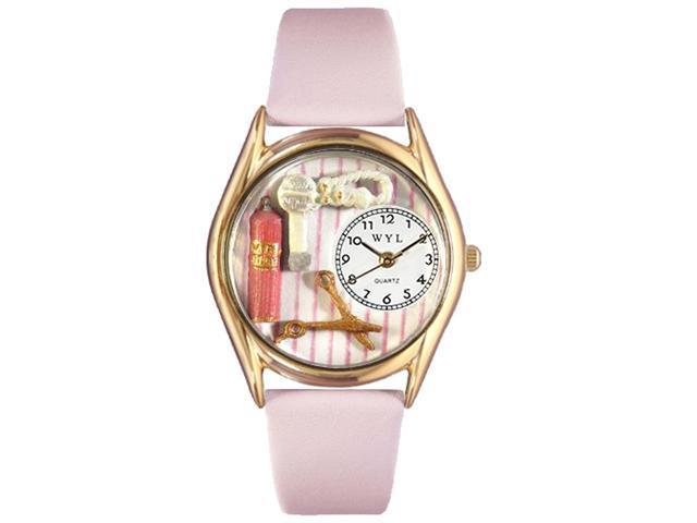 Beautician Female Pink Leather And Goldtone Watch #C0630007