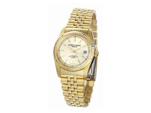 Charles-Hubert- Paris Mens Gold-Plated Stainless Steel Quartz Watch #3635-GY