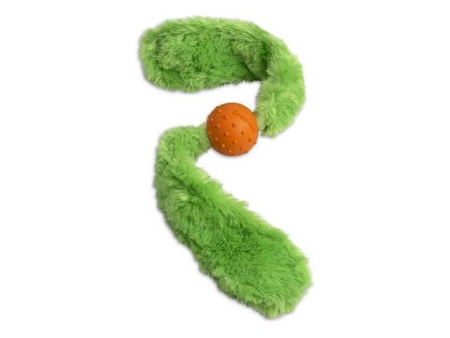 Doggles TYTALG07 Tails Dog Toy in Green with Orange Ball Large