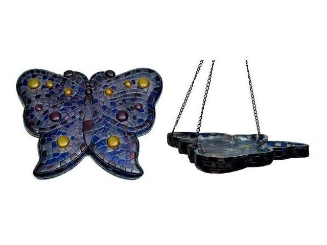 Mosaic Butterfly Birdfeeder/Wall Plaque