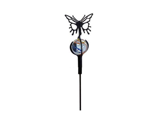 Village Wrought Iron MGS-B-38 Butterfly with Marble Ball Garden Stake