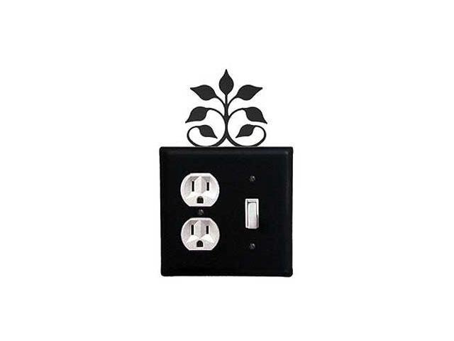 Village Wrought Iron EOS-109 Leaf Fan Outlet and Switch Cover - Black