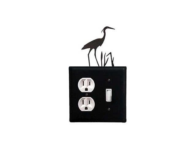 Village Wrought Iron EOS-133 Heron Outlet and Switch Cover - Black