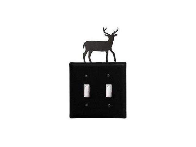 Village Wrought Iron ESS-3 Deer Switch Cover Double - Black