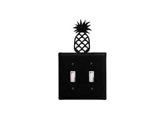 Village Wrought Iron ESS-44 Pineapple Switch Cover Double - Black