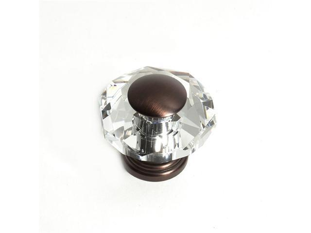 JVJHardware 38212 Pure Elegance 50mm - 2 in. - Octogon Faceted 31 Percent Lead Crystal Knob with Cap - Old World Bronze