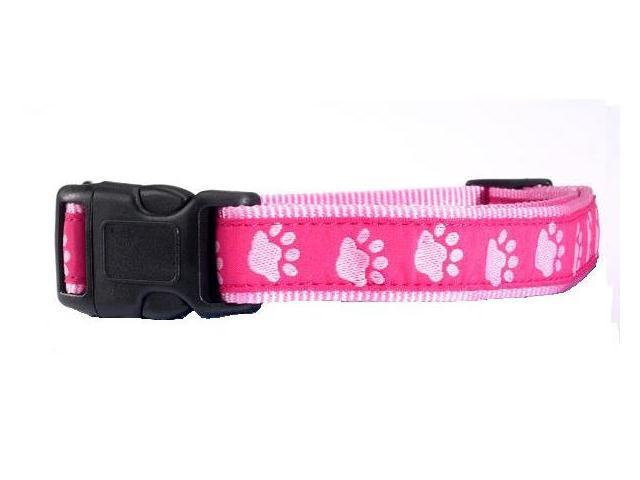Pet Pals ZA887 14 75 Two-Tone Pawprint Collar 14-20 x .62 In Pink