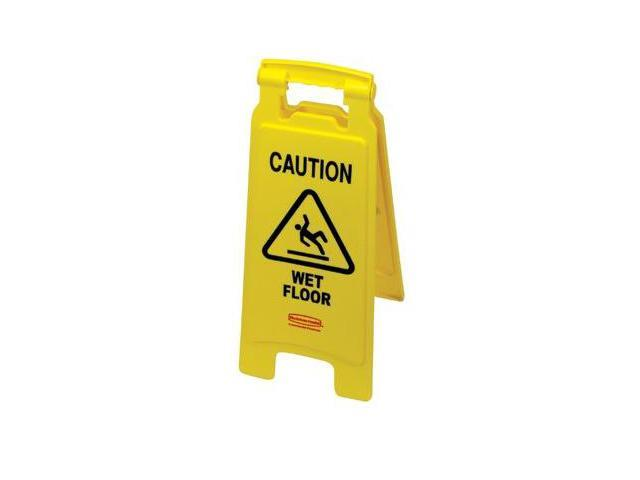 Rubbermaid Commercial 640-6112-77-YEL Yellow Floor Sign W-Wetfloor In English