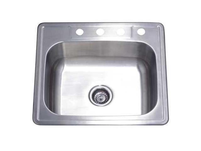 Kingston Brass GKTS2522 Gourmetier GKTS2522 Self-Rimming Single Bowl Kitchen Sink, Brushed Nickel