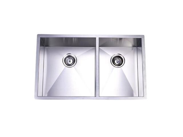 Kingston Brass KUS332010DBNL Gourmetier Stainless Steel Undermount Offset Double Bowl Kitchen Sink.