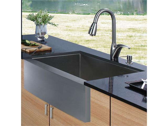 Vigo VG15001 Farmhouse Stainless Steel Kitchen Sink Faucet and Dispenser