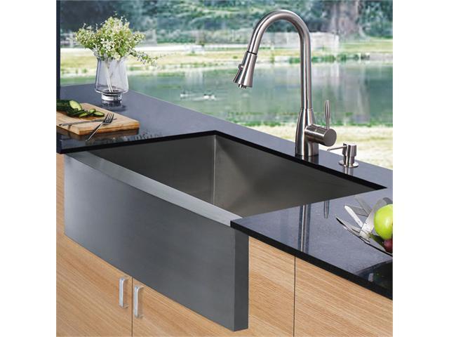 Vigo VG15003  Farmhouse Stainless Steel Kitchen Sink Faucet and Dispenser