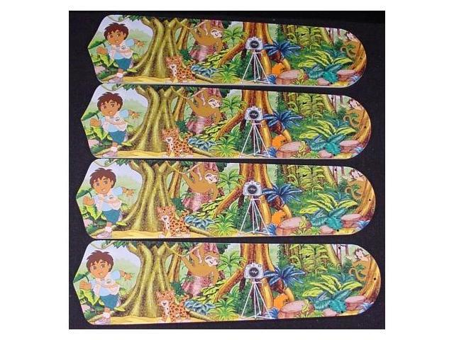 Ceiling Fan Designers 42SET-KIDS-GDGD Go Diego & Dora 42 in. Ceiling Fan Blades Only