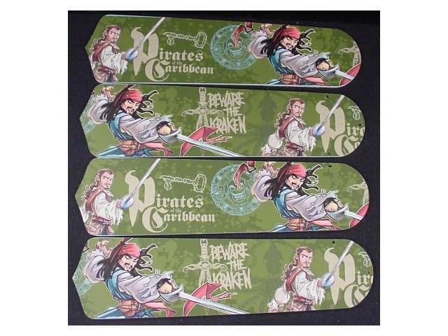 Ceiling Fan Designers 42SET-DIS-POC3JS Pirates Of Caribbean 3 Jack Sparrow 42 in. Ceiling Fan Blades Only